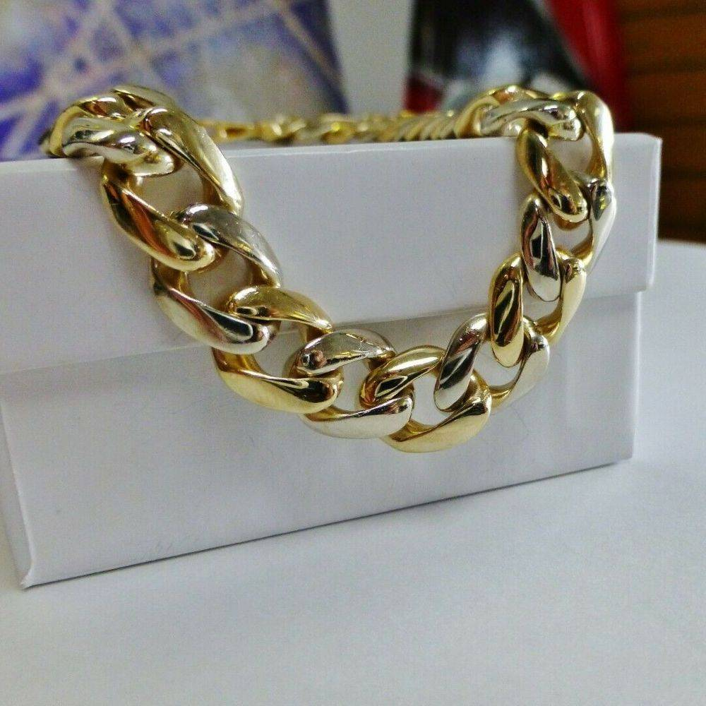 14K Men's Bracelet With White and Yellow Gold Alternating Curb Links