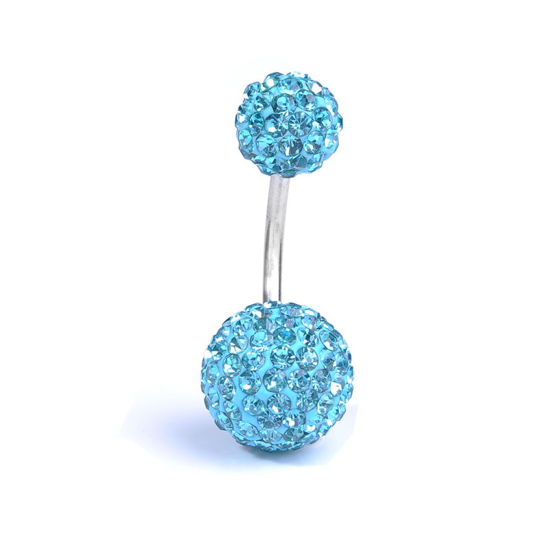 1.6mm x 10mm Blue Crystal Titanium Navel Bar  available at Kazbah online and our Leicester City Centre Shop