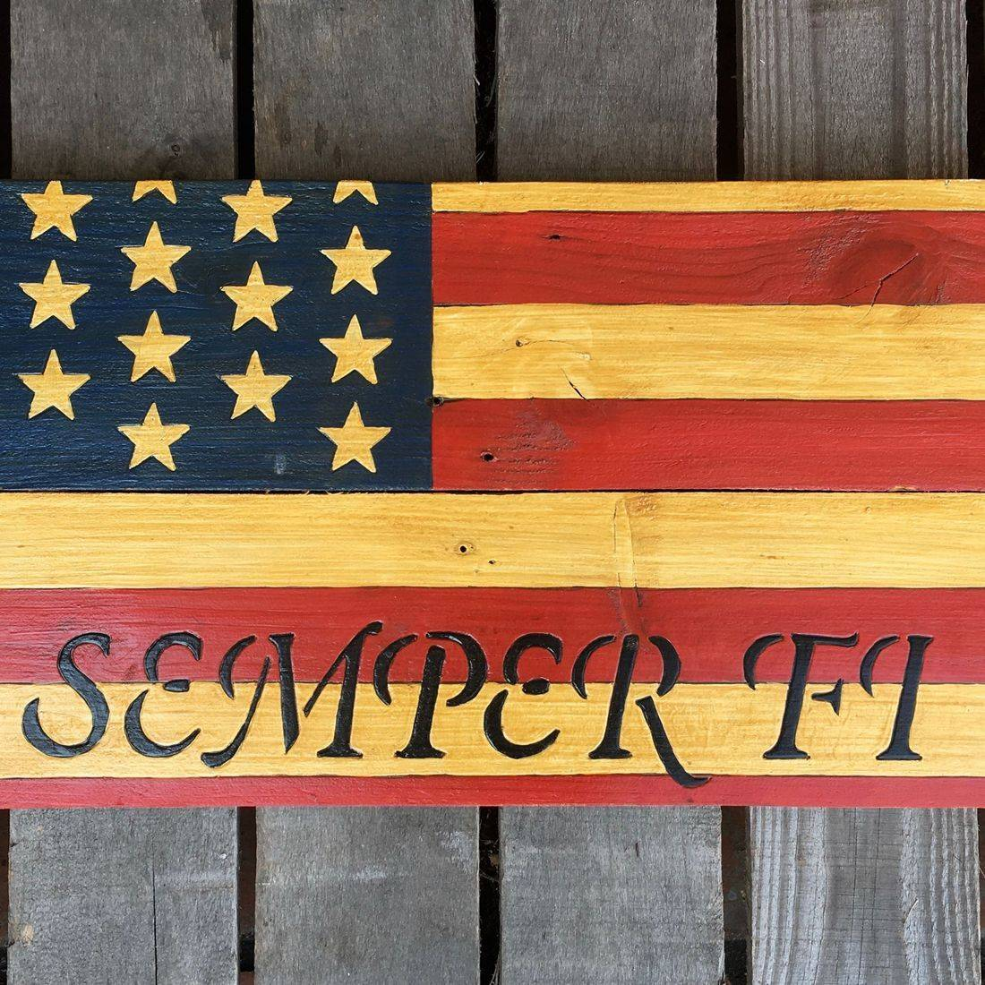 USA Handmade Reclaimed Pallet Wood American Military Army Freedom Flag