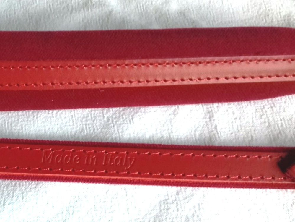 Red leather and red velour accordion strap