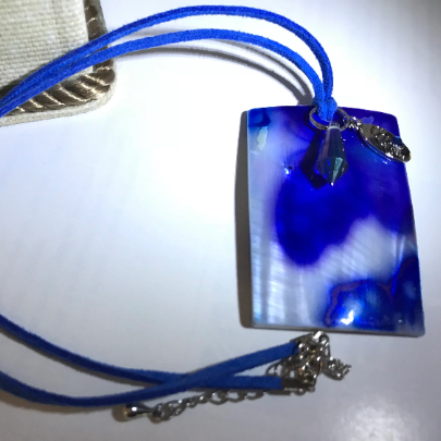Blue and white abalone, blue and white shell necklace, women's blue necklace, blue and white necklace