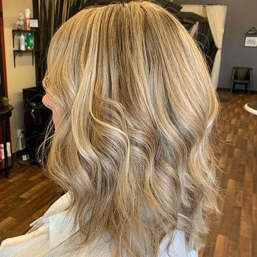 mid length layered haircut.. blonde highlights.. styled with waves
