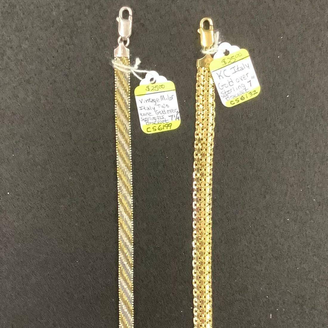 """Vintage Milor Gold over 925 Sterling 7-1/4"""" Bracelet  $25,  KC Italy Gold over 925 Sterling 7"""" Bracelet  $25"""