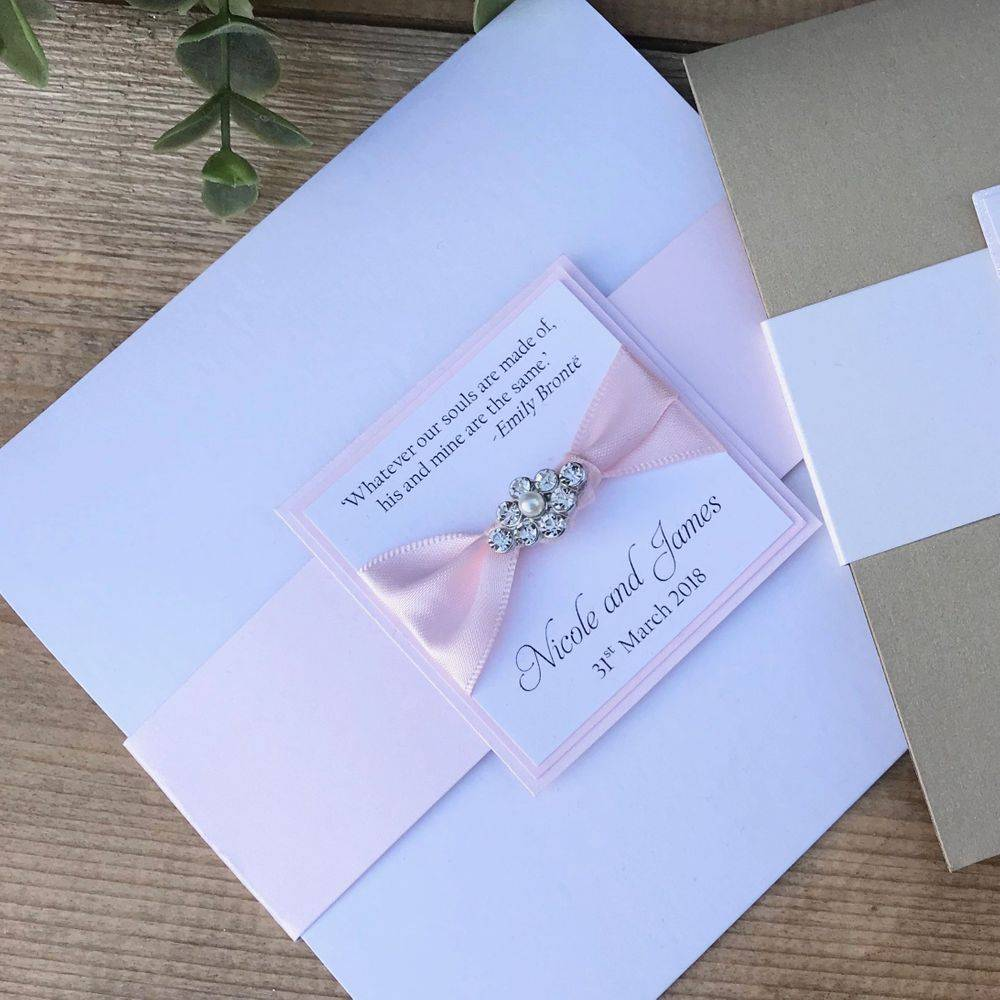 Wedding Invite with Dior Bow Black, Silver and white