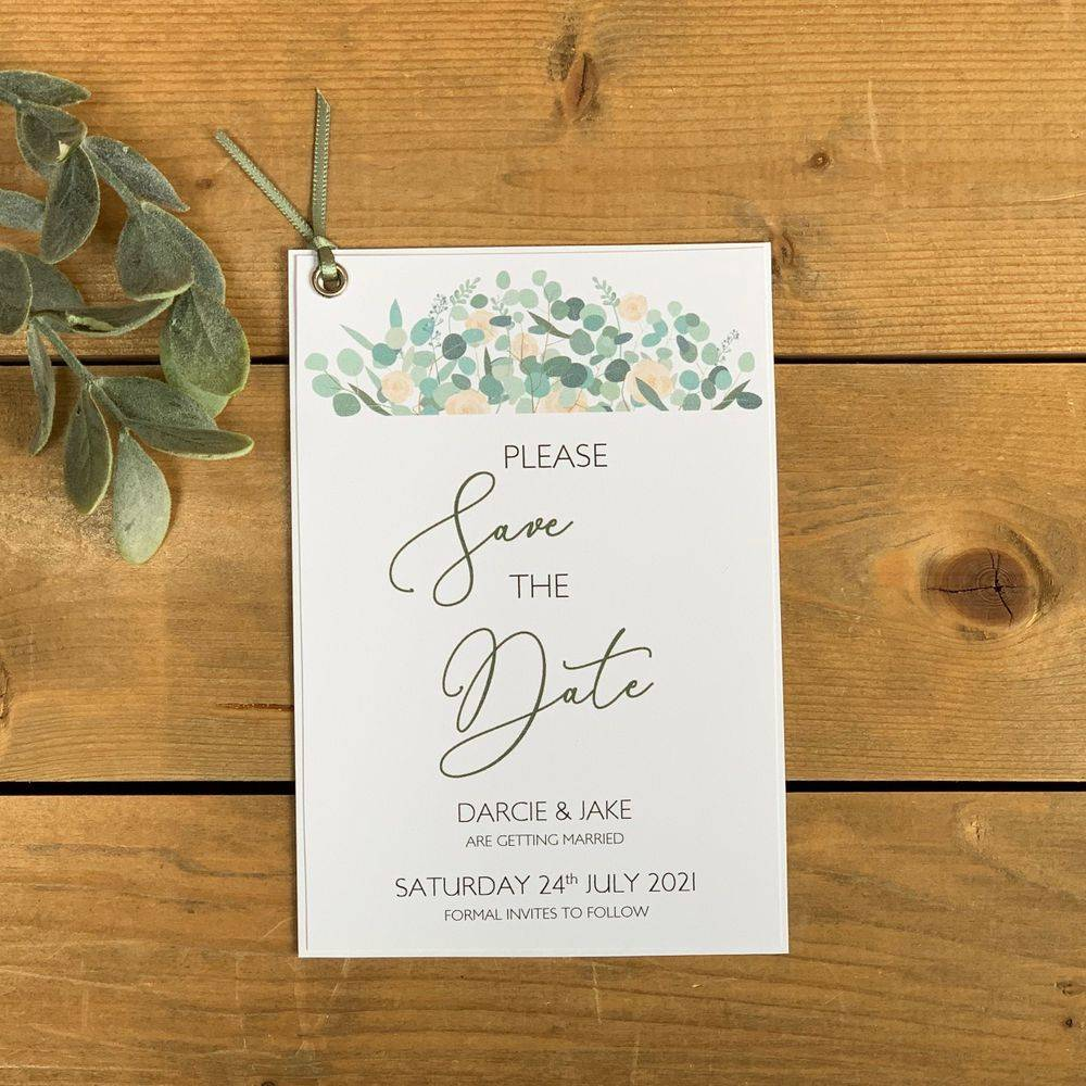 Save the Date with Ivory Roses and Eucalyptus