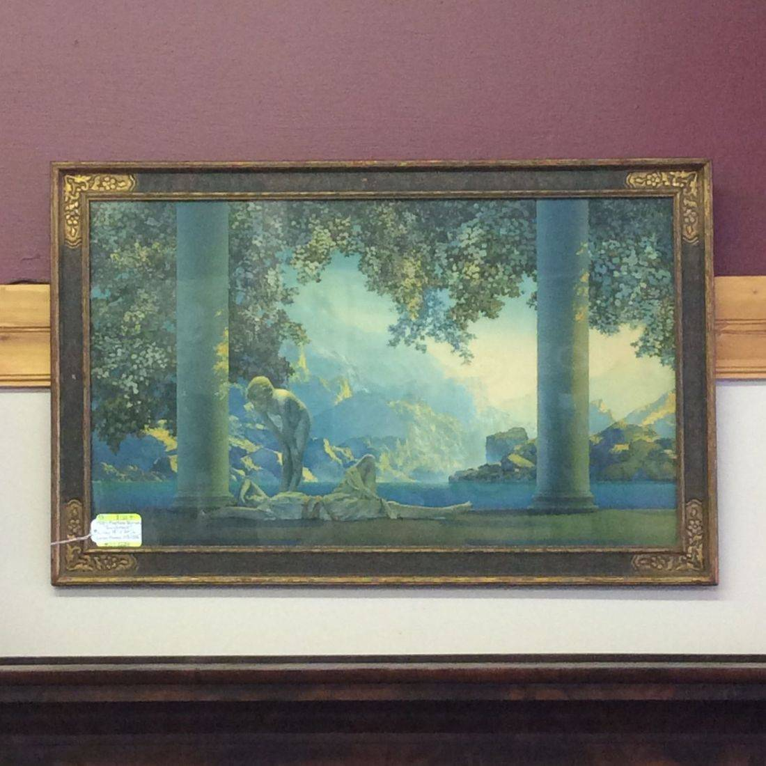 "1920's Maxfield Parrish ""Daybreak"" Litho  18-1/2"" x 30-1/2"" in Period Gesso 21-1/2"" x 33-1/2"" Frame   $155.00"