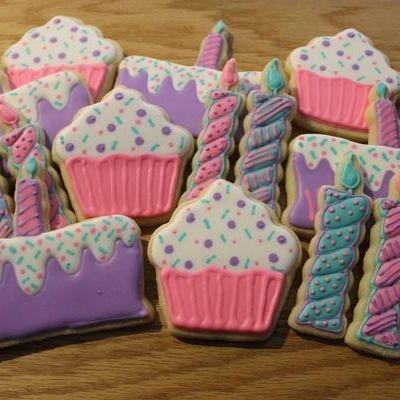 Birthday Party Cookie Set Birthday Cake Cookies Cupcake Cookies Candle Cookies Milwaukee