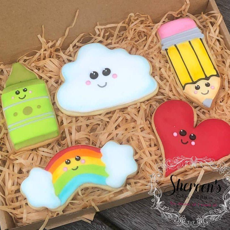Iced Cookies Biscuits thank you teacher cloud kawaii pencil crayon rainbow heart