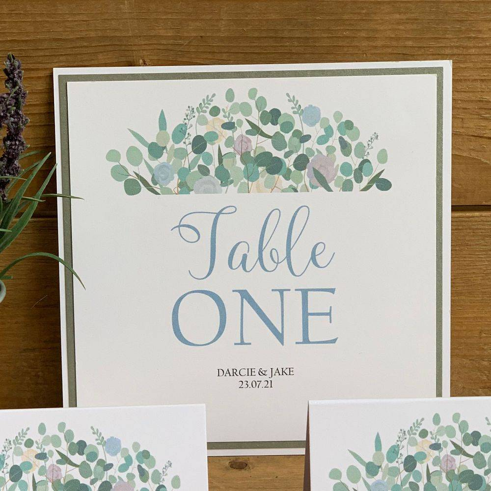 Eucalyptus with Roses Table Number Card