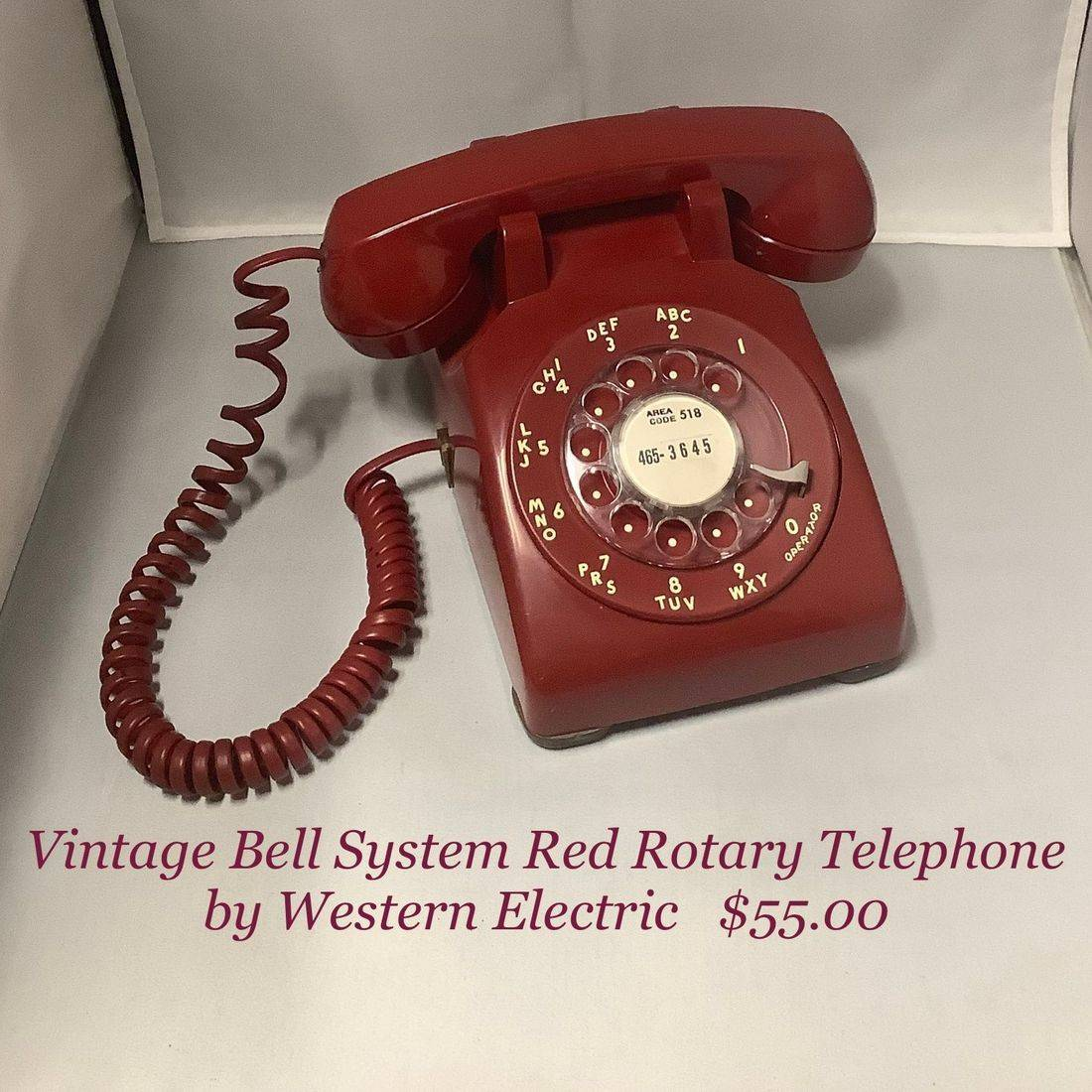 Vintage Western Electric Red Rotary Telephone   $55.00