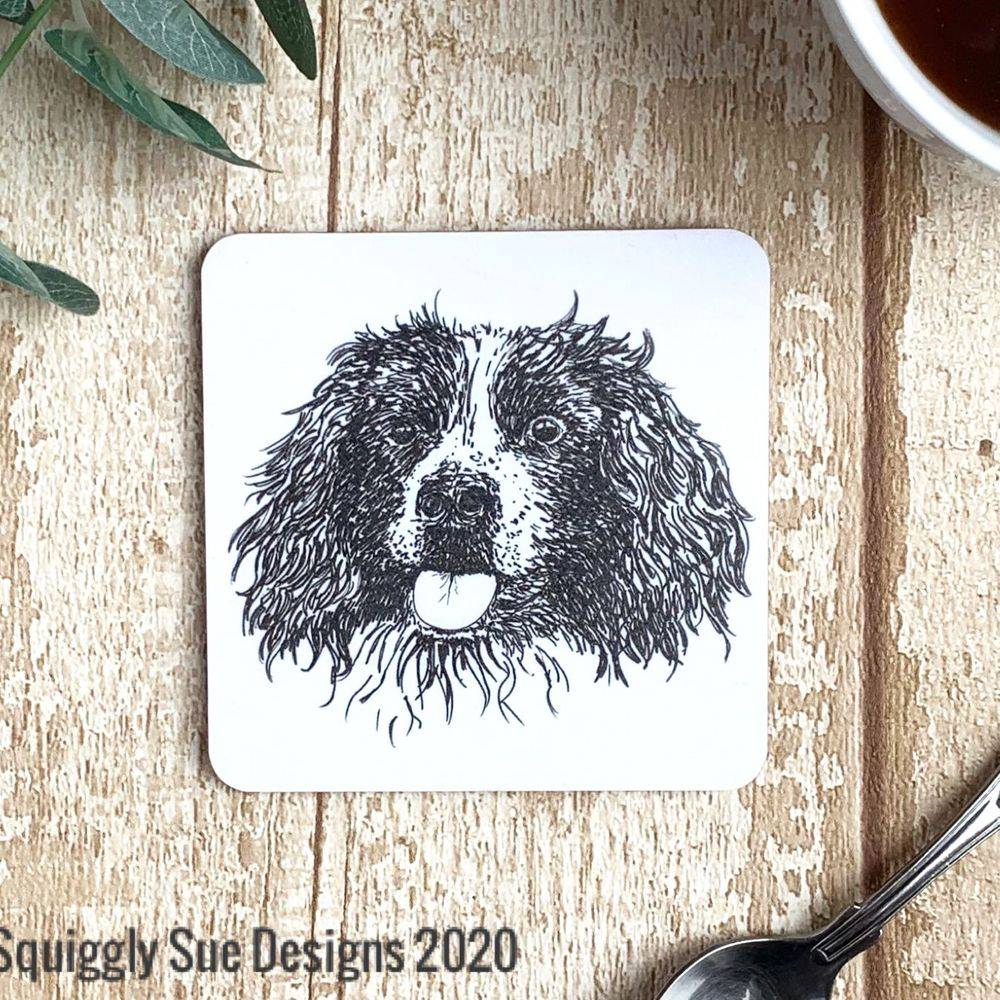 Springer Spaniel dog coaster pen & ink sketch