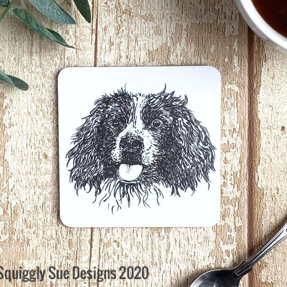 Springer Spaniel dog coaster pen & ink sketch