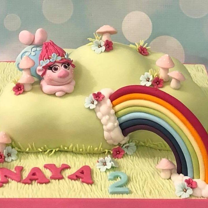 Trolls Cake Princess Poppy Rainbow Clouds Toadstools