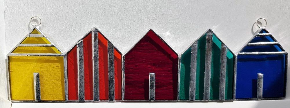 Geschenk, Strandhaus, Glas, Kunsthandwerk, Fensterbild, Tiffany, Einzigartig, Unikat, Meer, Sommer, Strand
