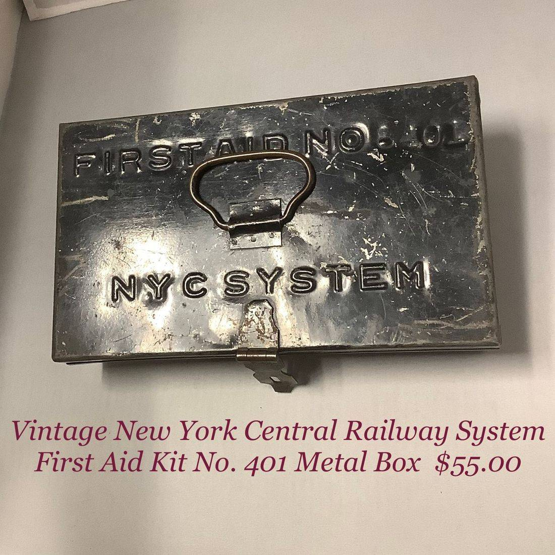 Vintage New York Central Railway System First Aid Box   $55.00