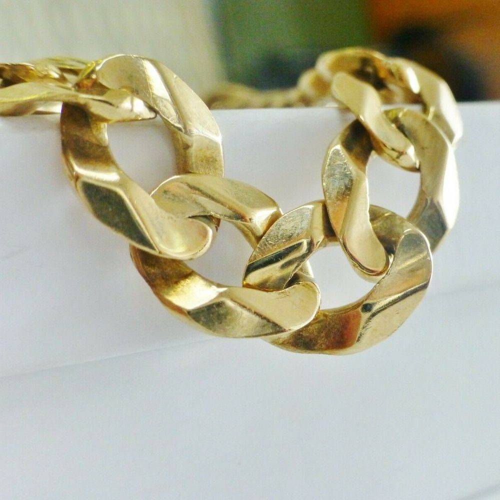 Concave Curb Link Men's Bracelet in Yellow Gold