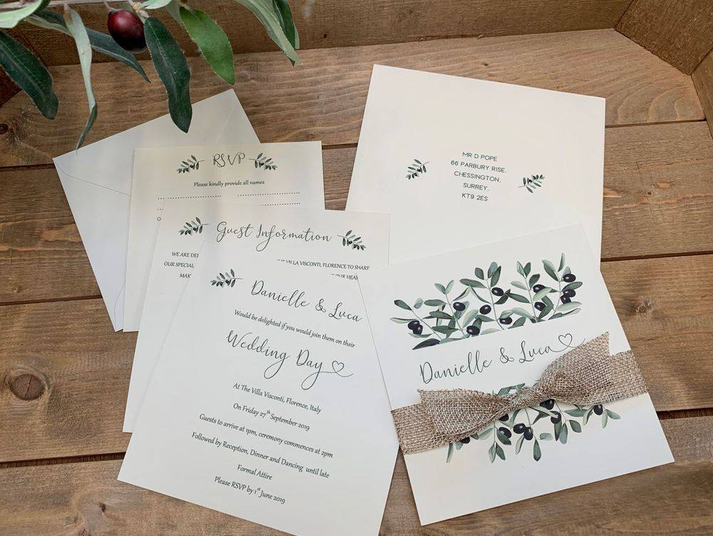 Wedding Invitation with Olive branch design, weddings abroad invitations