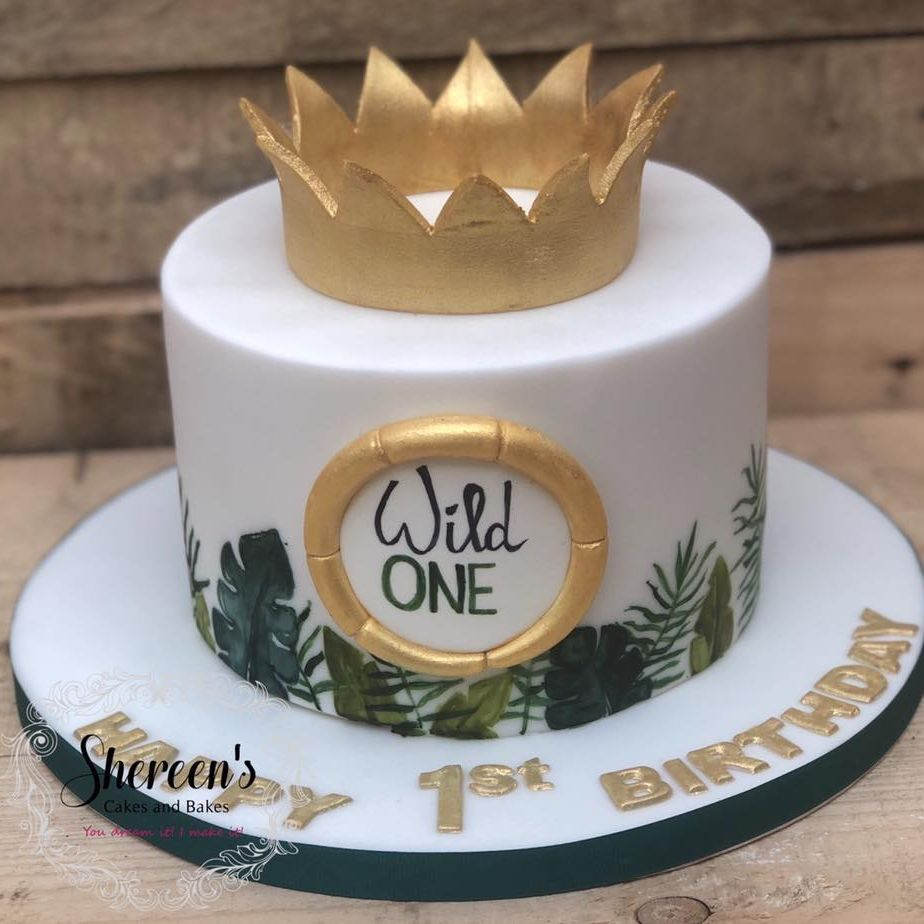 birthday cake wild thing one 1 crown jungle leaves gold