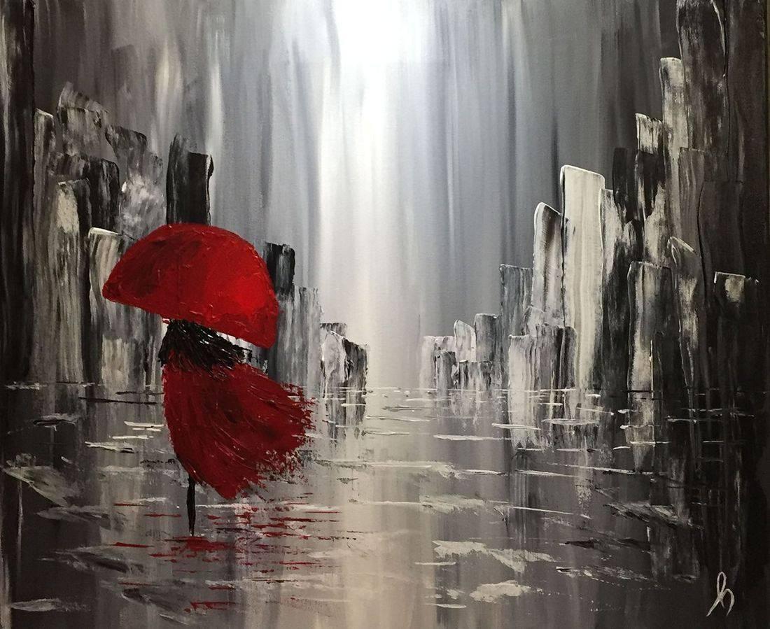 Umbrella, red umbrella, red raincoat, black and white cityscape, Oregon Artist, Abstract Artist, Hope Angel Fine Art
