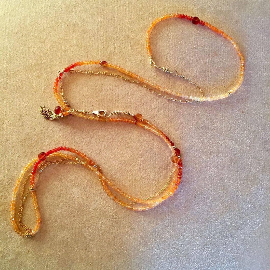 "42"" Carnelian Gemstone Wrap Bracelet, 14k Gold chain, clasp, tassel, can be worn as a necklac"