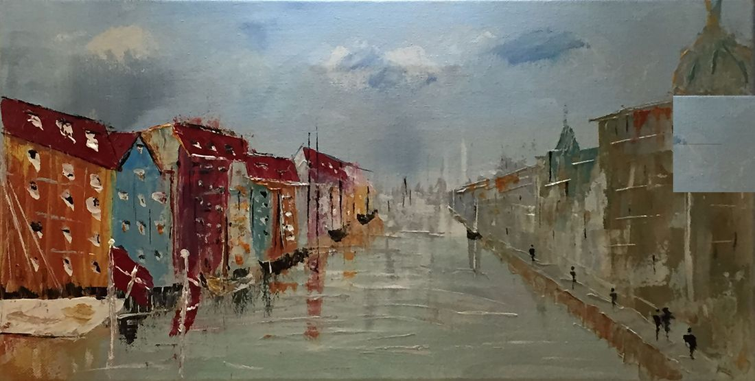 fjord Denmark people abstract cityscape seascape original acrylic canvas painting