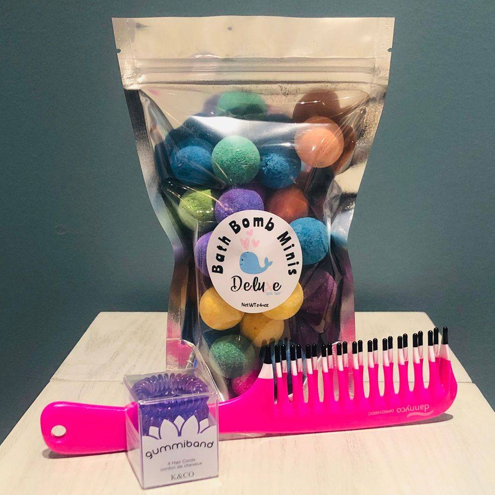 Mini Bath Bombs, detangling comb, and no ouch hair band, exhalo girls gift