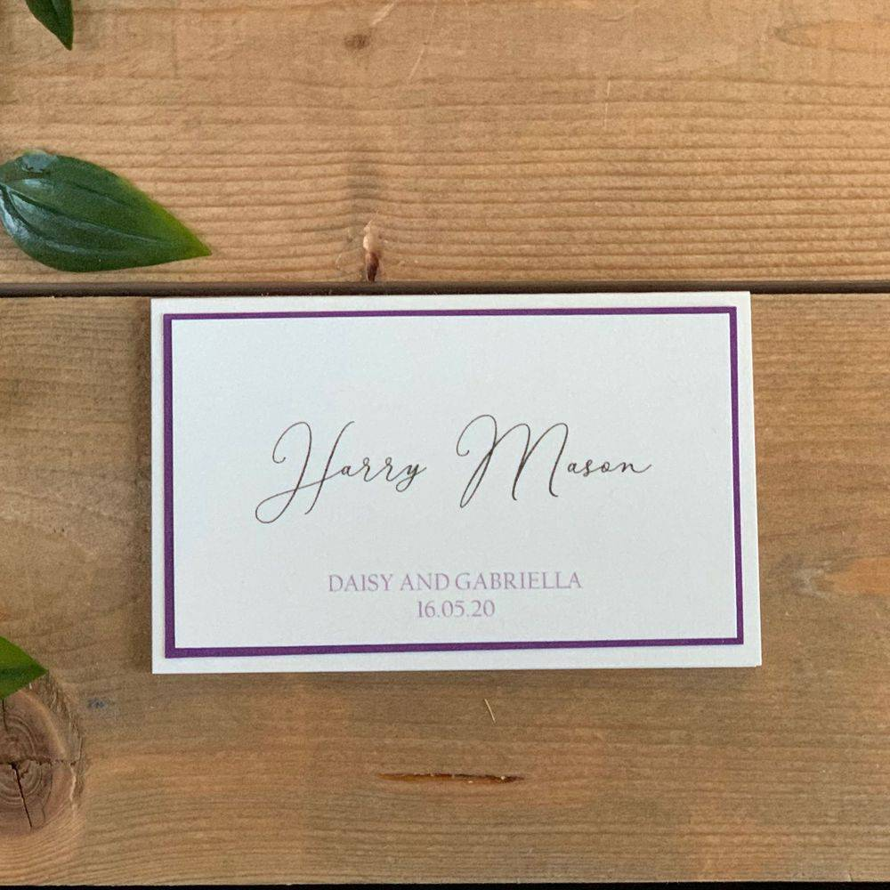 Ivory and purple Wedding Place Name with printed guest name