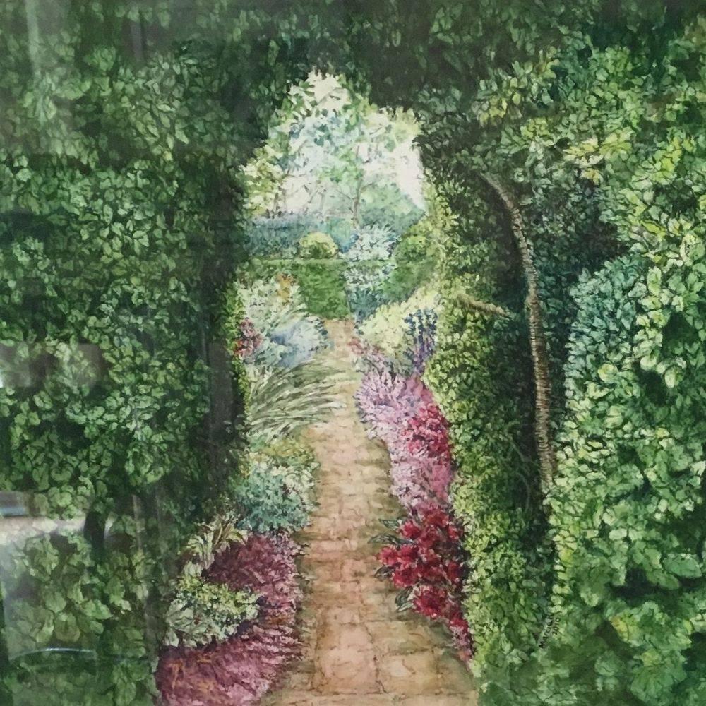 Secret Garden - pen & wash painting by Marcia Kuperberg