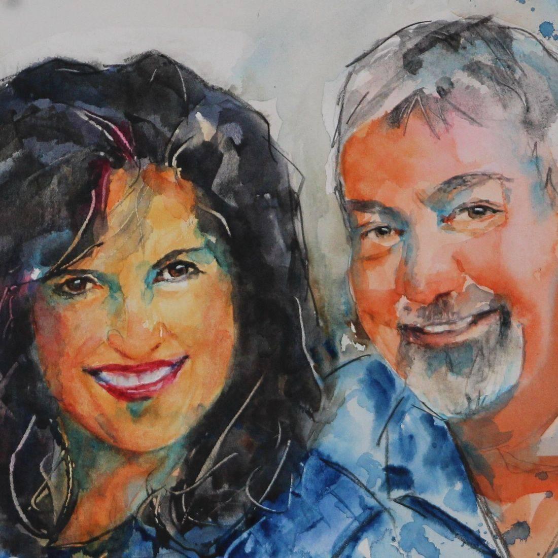 R Putbrese watercolor painting of couple by Rebecca Krutsinger