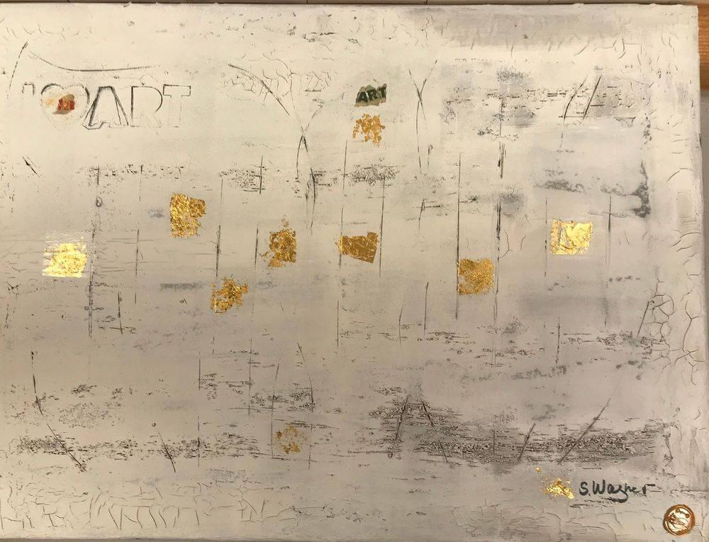 Art, Kunst, Silvia Wagner Art, Blattgold, Marmormehl, Strukturpasten, Siegelstempel, Signatur, abstrakt