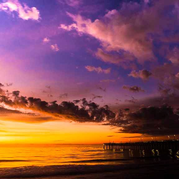 PAndercyk - Clouds over the Pier at Sunrise - Photography on Canvas
