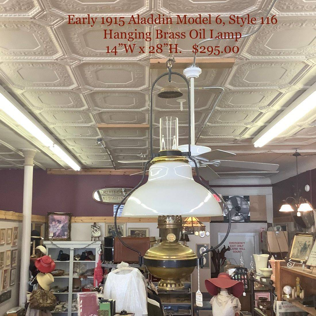Early 1915 Aladdin Model 6 Brass Hanging Oil Lamp   $295.00
