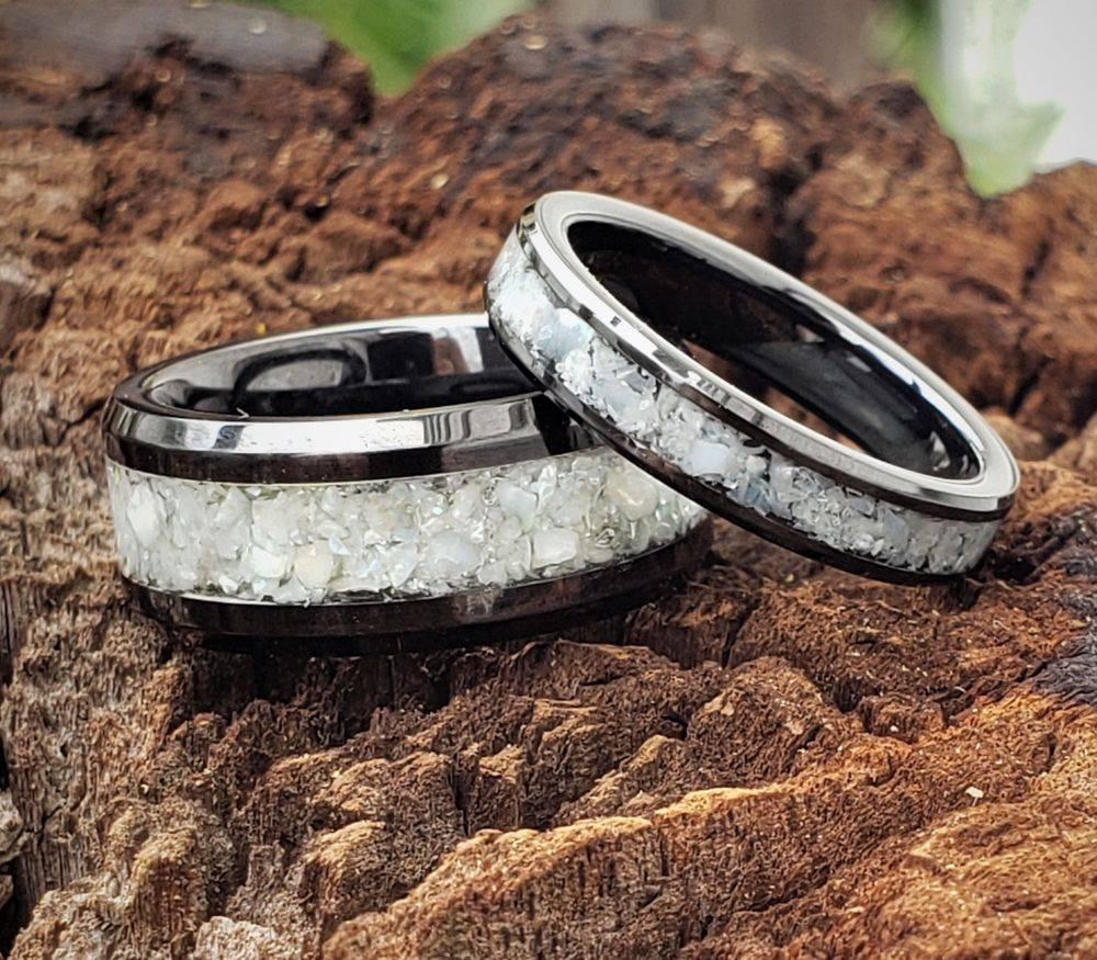Cremation Ring with Fresh water pearl in Black Tungsten Ceramic