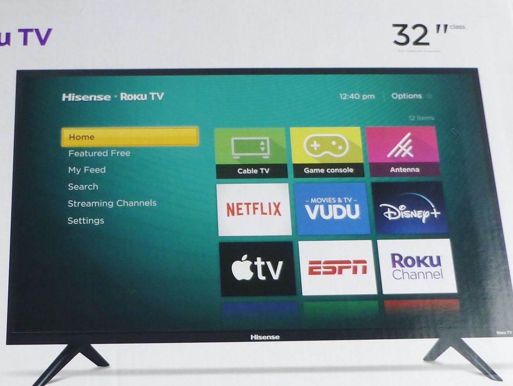 "Closeup picture 32"" Hisense Roku TV Box"