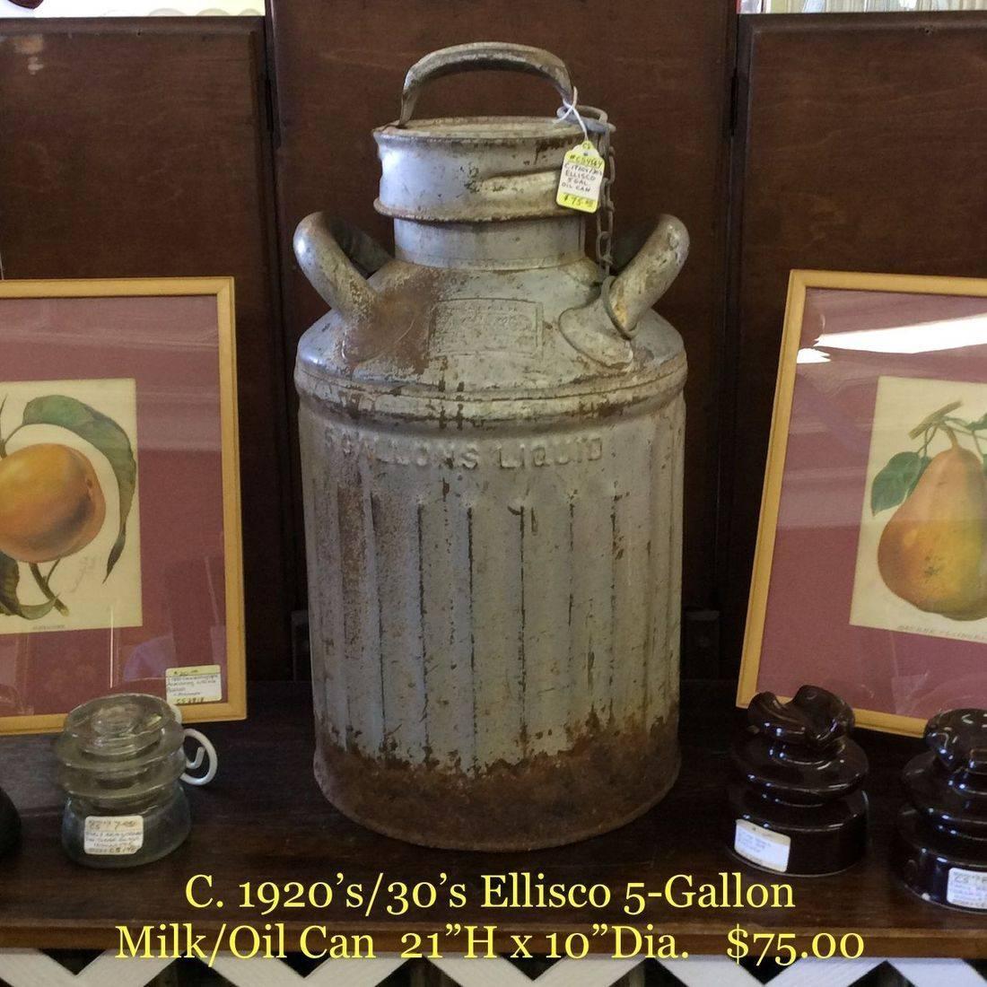 C. 1920's/30's Ellisco  5-Gallon Milk/Oil Can   $75.00