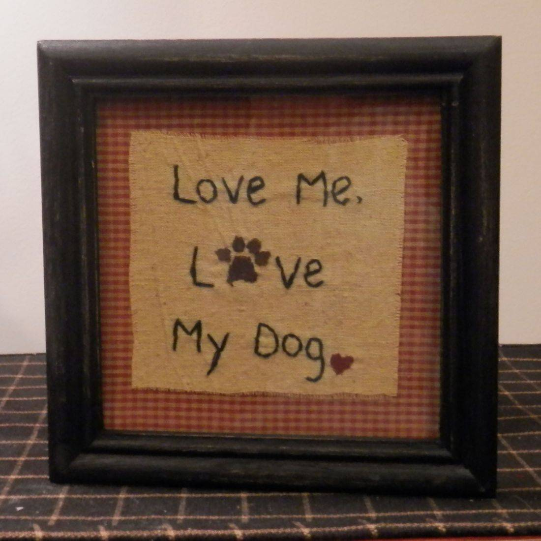 dog framed stitchery