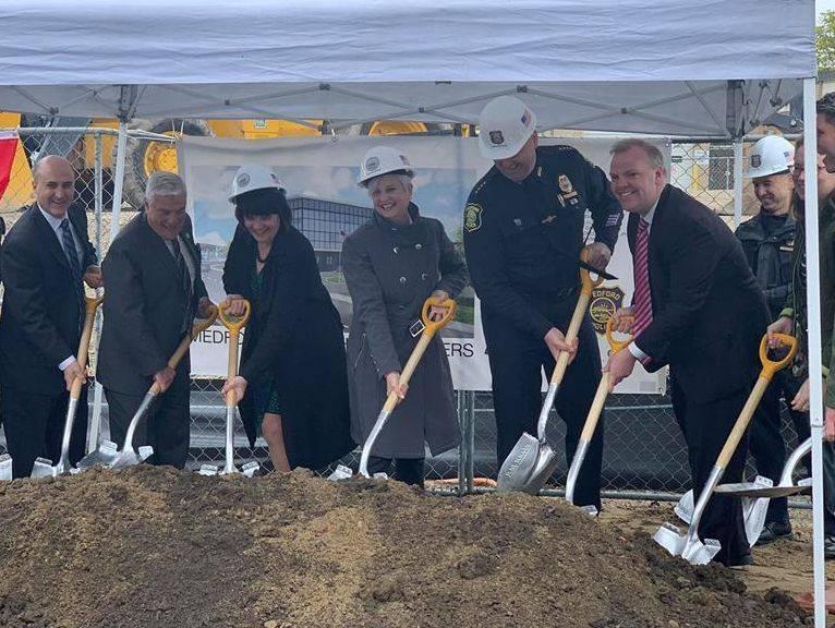 Mayor Burke breaking ground on new Medford Police Department Headquarters
