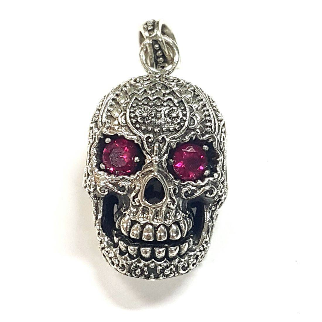 Pink Crystal Eyes Skull Pendant  available at Kazbah online and our Leicester City Centre shop