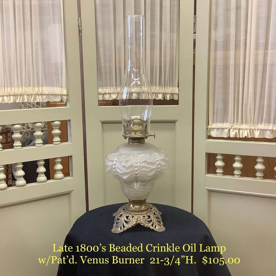 Late 1800's Beaded Crinkle Oil Lamp, w/Pat'd. Venus Burner   $105.00