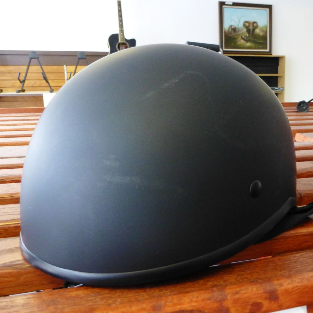 picture of a black Crazy Al's Beanie Dot half shell black helmet