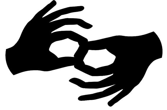 "Graphic of hands signing ""Interpreter"""