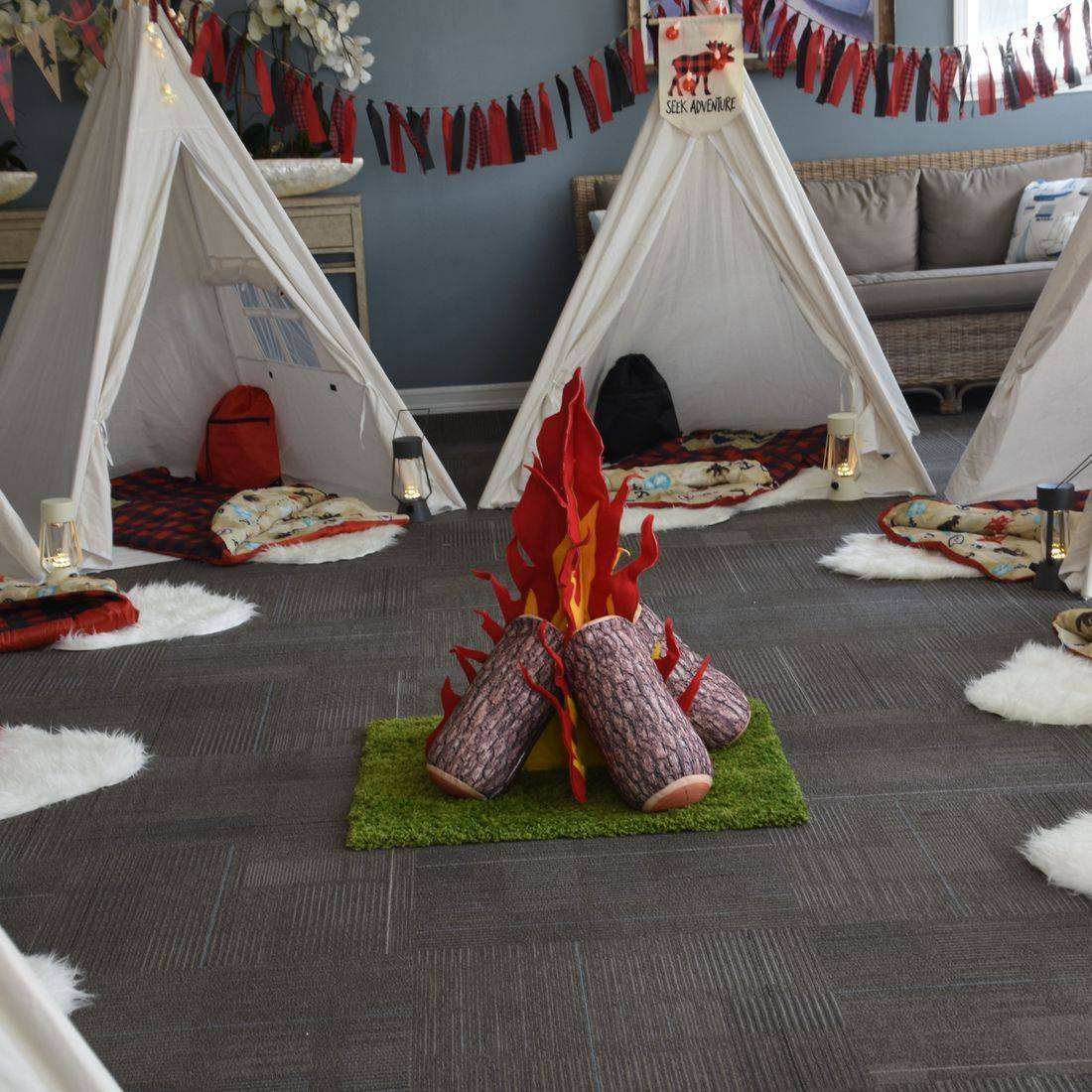 Kids party rentals, teepee rentals, party rentals, kids party planner, kids birthday parties, kids birthday party, teepees, indoor camping, pretend campfire, Newport Beach, CA, Orange County