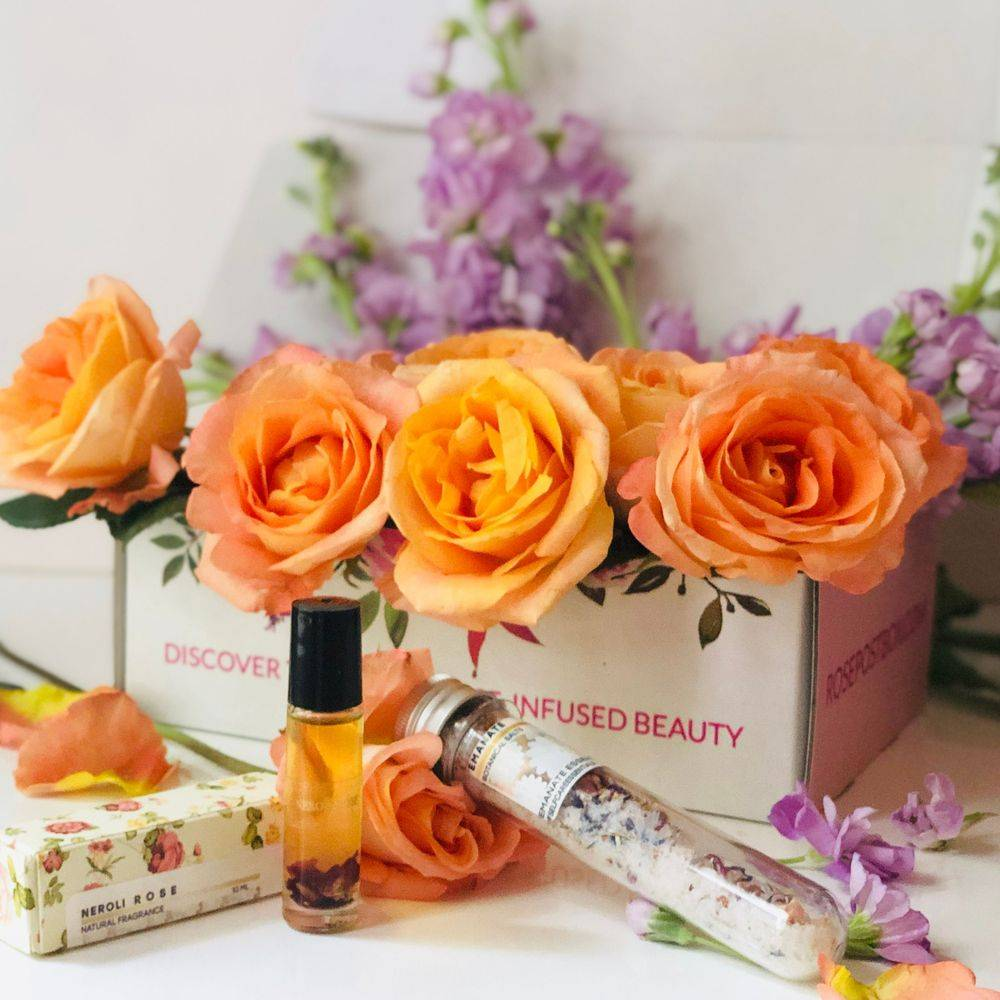 aromatherapy gift box, beauty box, clean beauty, indie beauty box, rose skincare, natural skincare, natural perfume, rosepost box