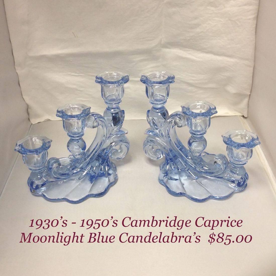 1930's-1950's Pr. Cambridge Caprice Moonlight Blue Candelabras   $85.00