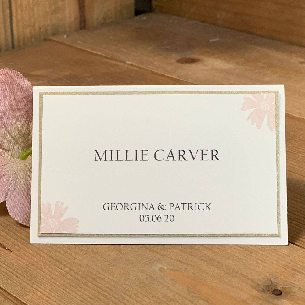 Wedding guest place name, ivory, blush and pale gold