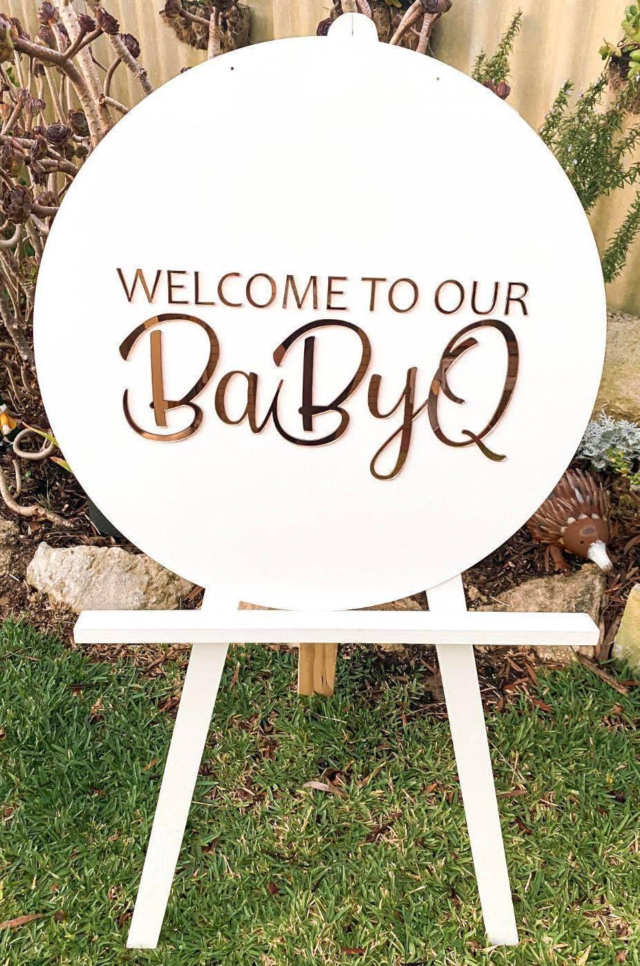 BabyQ Baby Shower Acrylic Sign on Easel
