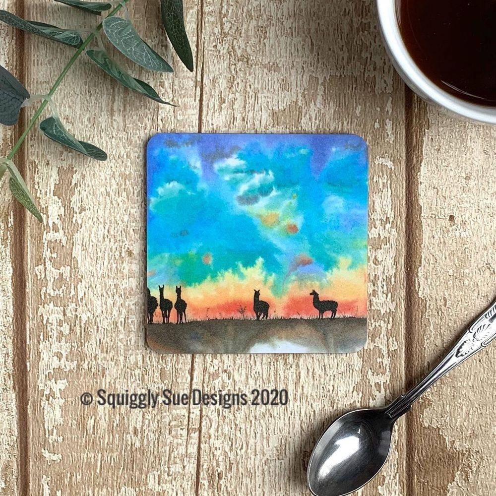 Alpacas Llamas coaster watercolour painting sunset