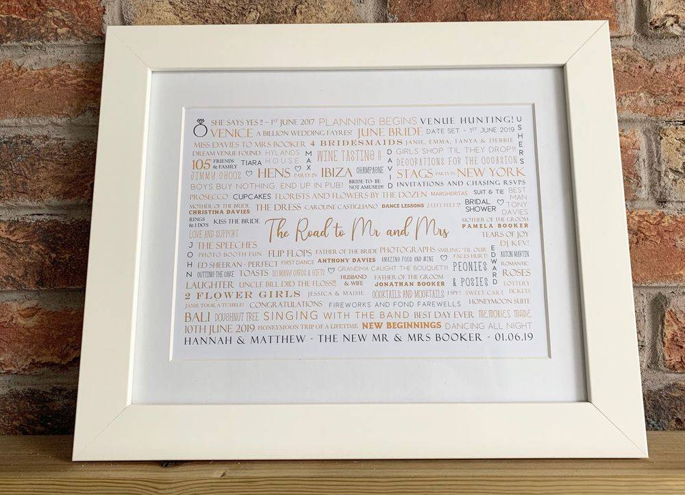 Wedding day keepsake for bridal couple