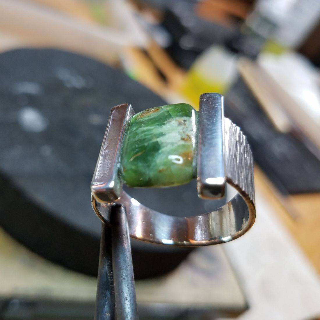 Emerald- Hammered Shank,Custom Setting $295.00