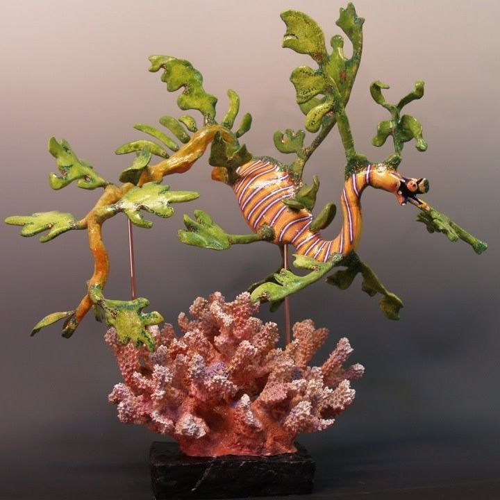 "CMiles - Leafy Sea Dragon - earthenware, paperclay, resin - 18""x18""x12"" (sold)"